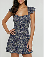 Foreign Women Johnson lotus sleeve floral lace dress sexy halter