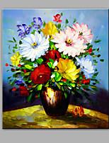 Pintados à mão Abstrato Floral/Botânico Vertical,Moderno 1 Painel Tela Pintura a Óleo For Decoração para casa