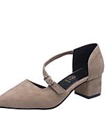 Damen-Sandalen-Outddor Kleid Lässig-Vlies-Blockabsatz Block Ferse-D'Orsay und Zweiteiler-Schwarz Khaki