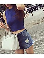 Summer new Korean fashion Slim round neck sleeveless vest ultra-short stature wild multicolor models