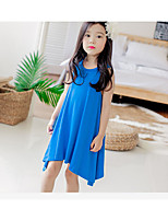 Girl's Casual/Daily Solid Dress,Wool Summer Sleeveless