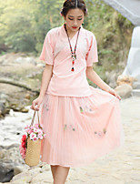 Really making tea dress skirt suit female Chinese improved cheongsam embroidered gauze shirt + pleated skirt piece