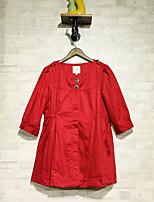 Для женщин На выход Весна Кожаные куртки Лацкан с тупым углом,Секси Однотонный Короткие Длинный рукав,Others
