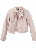 Women's Going out Cute Spring Leather Jacket,Solid Notch Lapel Long Sleeve Short Others