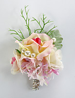 Wedding Flowers Free-form Roses Peonies Boutonnieres Wedding Party/ Evening Champagne / Red / Purple Satin/Bead