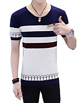 Men's Plus Size Casual/Daily Beach Vintage Simple Street chic Spring Summer T-shirt,Solid Striped Patchwork Round Neck Short SleeveCotton