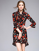 DFFDWomen's Going out Casual/Daily Holiday Simple Cute Street chic Sheath DressFloral Stand Above Knee  Sleeve Polyester Spring SummerMid