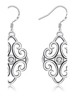 Exquisite Silver Plated Clear Crystal Hollow Pattern Drop Earrings for Wedding Party Women Accessiories