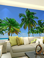 Art Deco Wallpaper For Home Wall Covering Canvas Adhesive Required Mural Colored Coconut Trees Blue Seaside Scenery XXXL(448*280cm)
