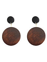 Drop Earrings Wood Alloy Circle Fashion Euramerican Circle Coffee Jewelry Wedding Party Halloween Daily Casual Sports 1 pair
