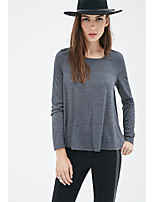 Foreign trade in Europe and America 2016 autumn new dark gray round neck long-sleeved T-shirt loose basic models