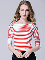 Women's Casual/Daily Simple T-shirt,Striped Boat Neck Long Sleeve Polyester