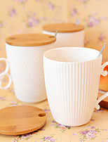 1 Pcs Pure White Ceramic Mug with stainless steel spoon and wood lid
