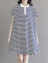 Dames Casual/Dagelijks Eenvoudig Ruimvallend Jurk Gestreept-Overhemdkraag Boven de knie Korte mouw Katoen Zomer Medium taille Inelastisch