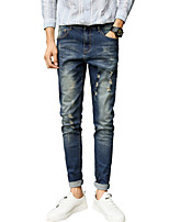 Men's Mid Rise Micro-elastic Jeans PantsVintage Simple Slim Ripped Solid ACD-952