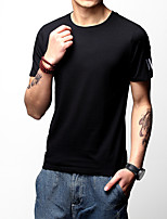 Men's Plus Size Casual/Daily Holiday Simple Street chic Active Spring Summer T-shirt,Solid Letter Round Neck Short Sleeve Cotton Medium