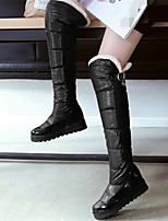 Белый Черный-Для женщин-Повседневный-Полиуретан-На плоской подошве-Удобная обувь-Ботинки