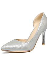 Mujer-Tacón Stiletto-Confort-Tacones-Vestido-Semicuero-Dorado Plata Gris Rosa