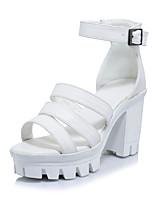 Women's Sandals Spring Summer Fall Gladiator PU Office & Career Dress Party & Evening Chunky Heel Block Heel Buckle White Black