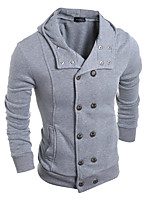 Men's Casual/Daily Hoodie Solid Round Neck Micro-elastic Cotton Long Sleeve Spring Winter