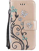 For Huawei P8Lite(2017) P10 Case Cover Butterfly Love Flower Pattern Embossed Point drill Flash Powder Card Wallet Stent PU Phone Case P10 P9 P8(Lite)