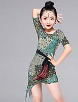 Latin Dance Dresses Kid's Performance Viscose Pattern/Print 2 Pieces Long Sleeve Waist Belt Dress