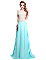 Formal Evening Dress Sheath / Column V-neck Sweep / Brush Train Chiffon with Beading