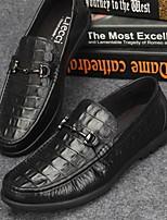 Черный-Для мужчин-Для офиса Повседневный-Наппа Leather-На низком каблуке-Мокасины-Мокасины и Свитер