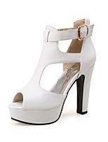 Damen-Stiefel-Büro Kleid Party & Festivität-PU-Blockabsatz-Club-Schuhe-Weiß Schwarz Gelb