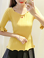 Women's Casual/Daily Formal Cute Street chic Spring Summer T-shirt,Solid Round Neck ½ Length Sleeve Spandex Medium