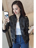 Women's Going out Party/Cocktail Sexy Cute Spring Fall Leather Jacket,Camouflage Stand Long Sleeve Short PU