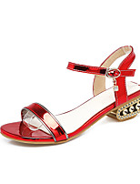 Sandals Spring Summer Light Soles Leatherette Casual Low Heel Green Pink Red White Champagne
