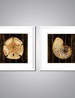 Lonas Estampadas com Moldura Abstrato Floral/Botânico Tradicional Realismo,2 Painéis Tela Quadrangular Impressão artísticaDecoração de