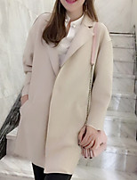 Women's Going out Casual/Daily Simple Spring Fur Coat,Solid Stand Long Sleeve Long Fox Fur