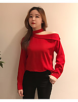 Women's Casual/Daily Simple Spring Summer Blouse,Solid Boat Neck Long Sleeve Cotton Thin
