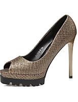 Золотой Черный Коричневый-Для женщин-Для праздника-Кожа-На шпильке-Удобная обувь-Обувь на каблуках