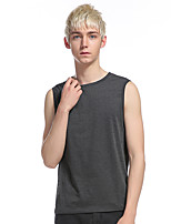 Men's Casual/Daily Sports Simple Active Summer Tank Top,Solid Round Neck Short Sleeve Cotton Rayon Thin