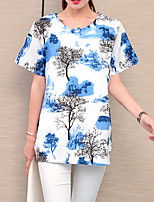Women's Plus Size Casual/Daily Holiday Vintage Simple Chinoiserie Summer T-shirt,Plaid Round Neck Short Sleeve Linen