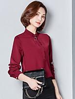 Для женщин На каждый день Офис Блуза Воротник-стойка,Простое Уличный стиль Однотонный Длинный рукав,Полиэстер