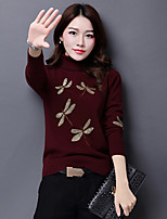 Women's Casual/Daily Simple Regular Pullover,Solid Turtleneck Long Sleeve Wool Fall Medium Micro-elastic
