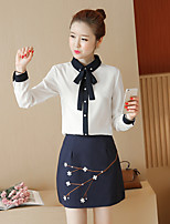 Spring and Autumn new chiffon blouse + two-piece package hip skirt fashion dress women small fragrant wind suit