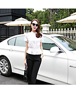 Women's Casual/Daily Simple Summer T-shirt Skirt Suits,Striped Round Neck Short Sleeve Cotton