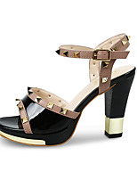 Women's Sandals Summer T-Strap Leatherette Outdoor Dress Casual Chunky Heel Rivet Walking
