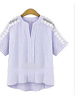 Women's Casual/Daily Simple Shirt,Striped Round Neck Long Sleeve Cotton Linen Opaque Thin