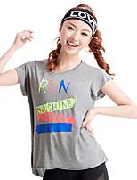 Femme Manches courtes Course / Running Hauts/Tops Respirable Confortable Eté Vêtements de sport Course/Running Ample Couleur Pleine Mode
