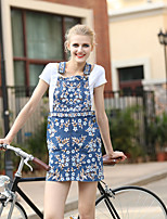 Women's Going out Casual/Daily Simple Spring T-shirt Skirt Suits,Solid Geometric Round Neck Short Sleeve Cotton Polyester
