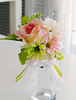 Wedding Flowers Free-form Roses Lilies Boutonnieres Wedding Party/ Evening Pink Satin Lace