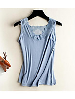 Women's Casual/Daily Sexy Summer T-shirt,Solid V Neck Short Sleeve Cotton Modal Sheer Medium