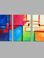 Hand-Painted Abstract VerticalModern Three Panels Canvas Oil Painting For Home Decoration