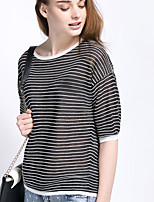 Women's Casual/Daily Short Cardigan,Striped Round Neck ½ Length Sleeve Linen Spring Fall Thin Micro-elastic
